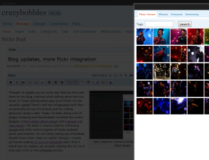 Flickr integration, thanks to the lovely Flickr Photo Album Plugin