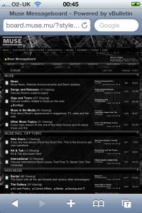 Muse board on the iPhone 4